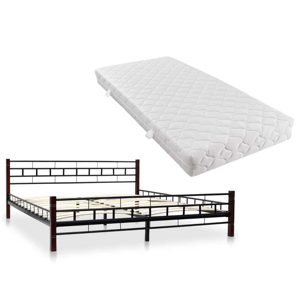 vidaXL Κρεβάτι Μαύρο 180 x 200 εκ. Μεταλλικό με Στρώμα