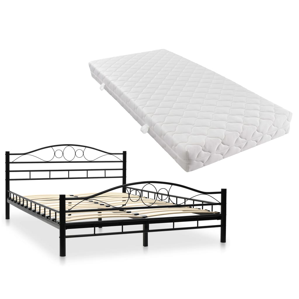 vidaXL Κρεβάτι Μαύρο 140 x 200 εκ. Μεταλλικό με Στρώμα