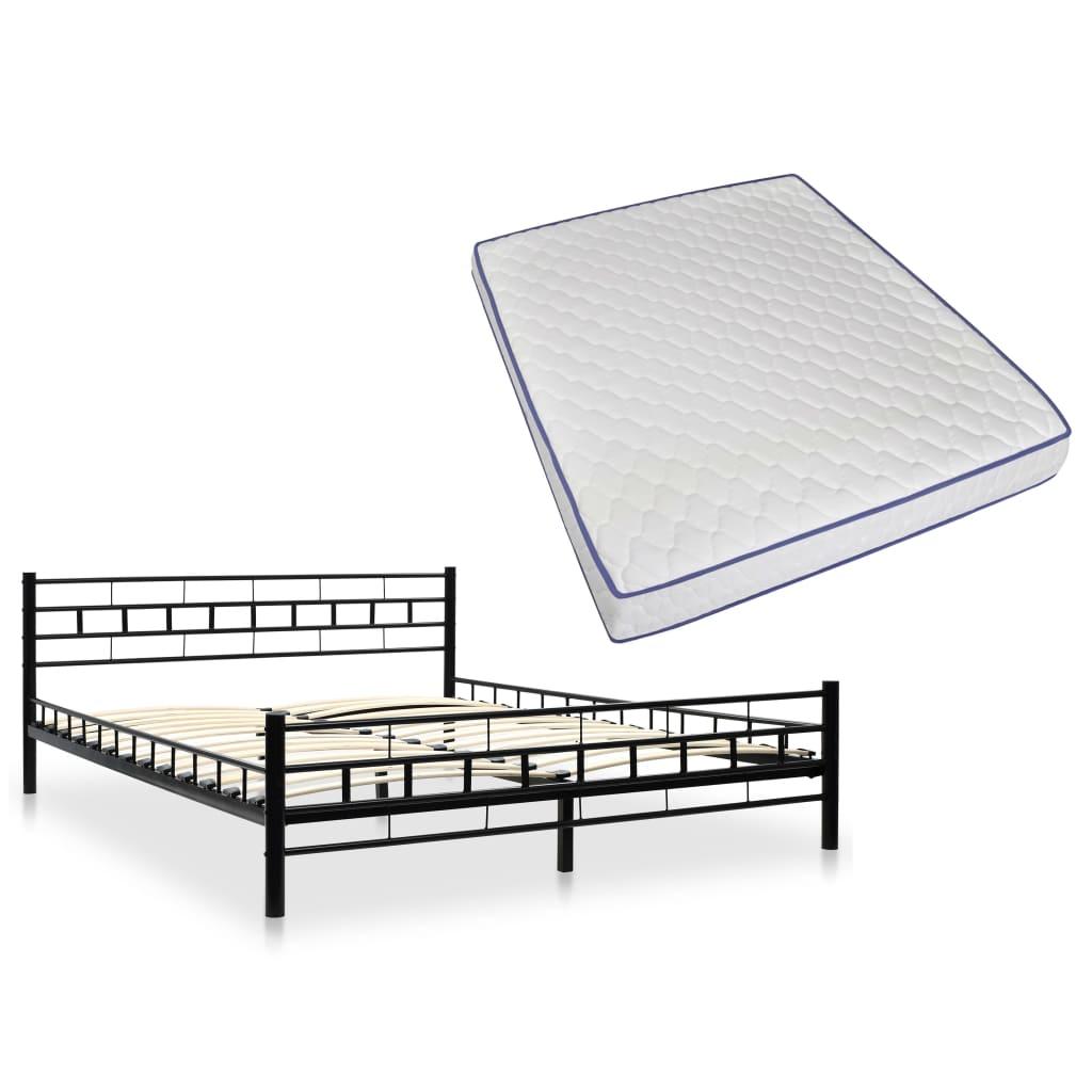 vidaXL Κρεβάτι Μαύρο 160 x 200 εκ. Μεταλλικό με Στρώμα Αφρού Μνήμης