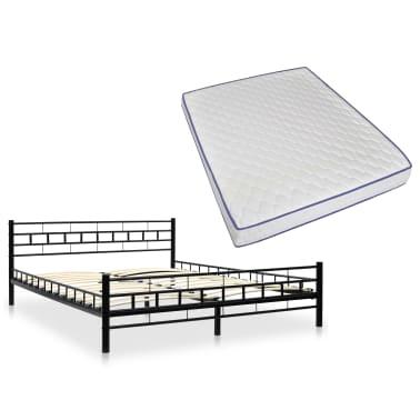 vidaXL Metalinė lova su Memory čiuž., 160x200cm, juoda, blokelių diz.[1/12]