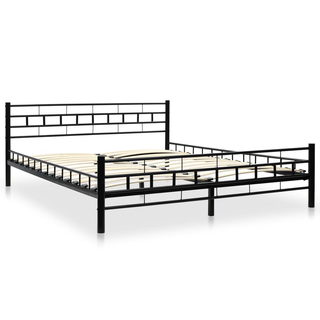 vidaXL Bed met traagschuim matras blok ontwerp metaal zwart 160x200 cm