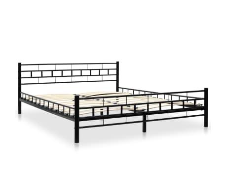 vidaXL Metalinė lova su Memory čiuž., 160x200cm, juoda, blokelių diz.[2/12]