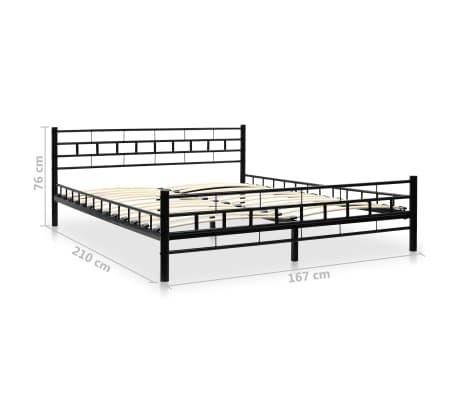 vidaXL Metalinė lova su Memory čiuž., 160x200cm, juoda, blokelių diz.[12/12]