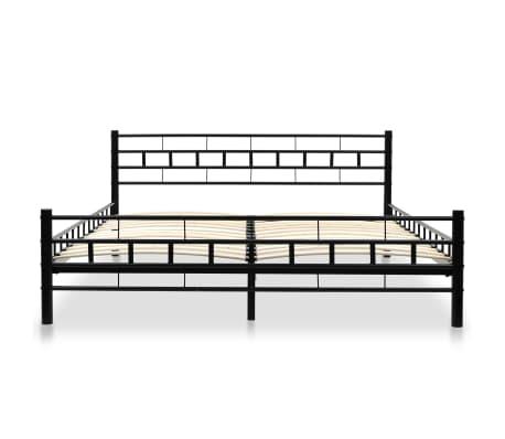 vidaXL Metalinė lova su Memory čiuž., 160x200cm, juoda, blokelių diz.[3/12]