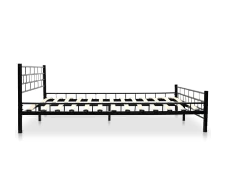 vidaXL Metalinė lova su Memory čiuž., 160x200cm, juoda, blokelių diz.[4/12]