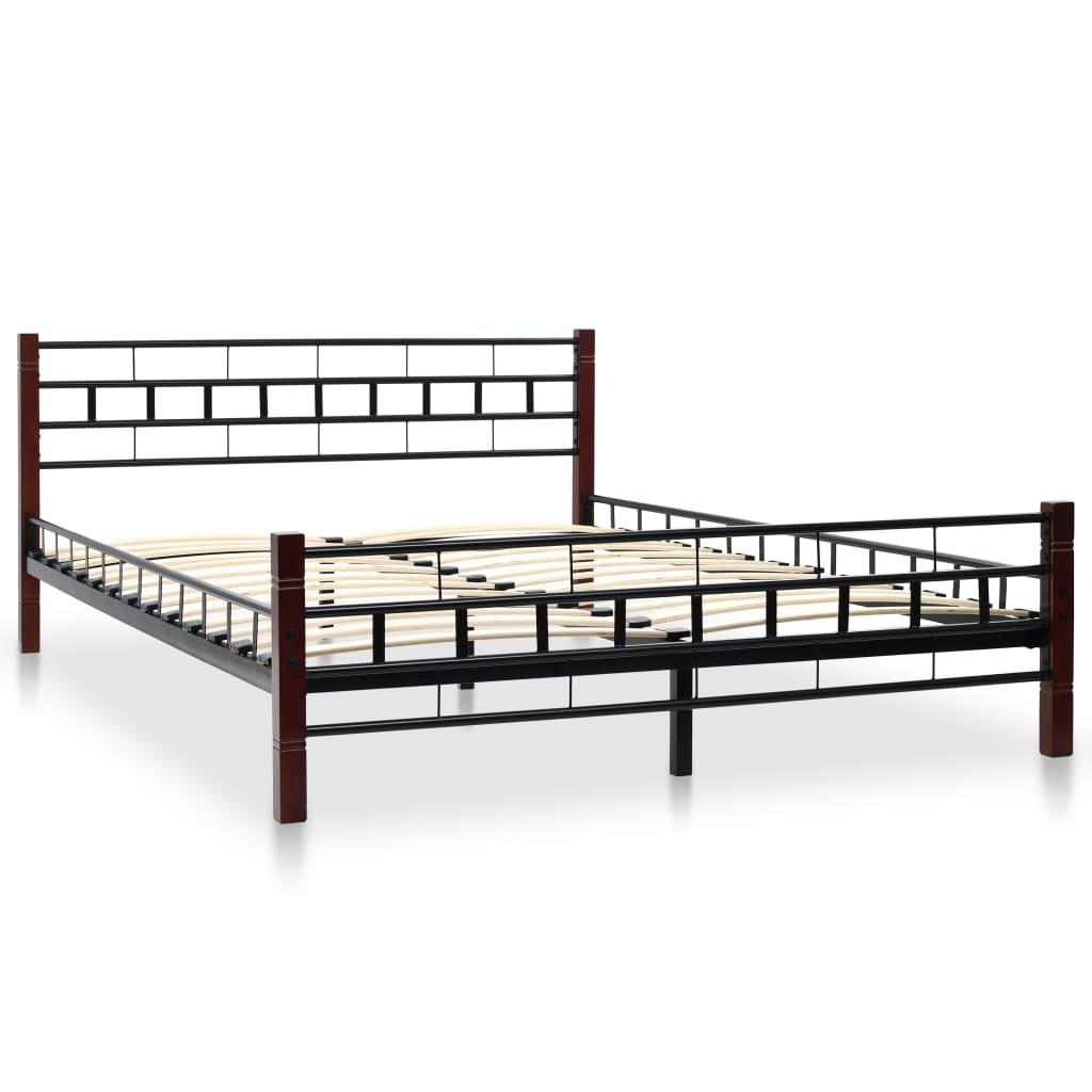 vidaXL Bed met traagschuim matras metaal zwart 140x200 cm