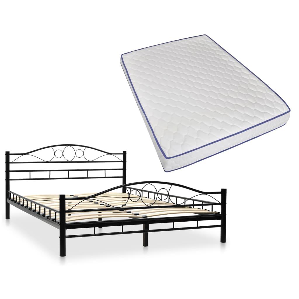 vidaXL Κρεβάτι Κυρτό Σχέδιο Μαύρο 140×200 εκ. Μεταλλικό + Στρώμα Αφρού