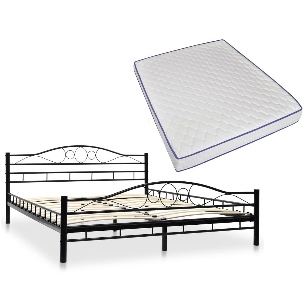 vidaXL Kovová postel s matrací z paměťové pěny 160 x 200 cm černá oblá