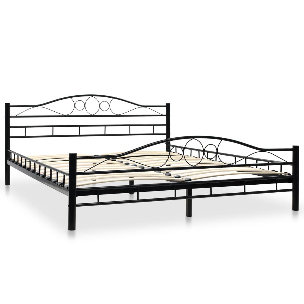 vidaXL Bed traagschuim matras gekruld ontwerp metaal zwart 160x200 cm