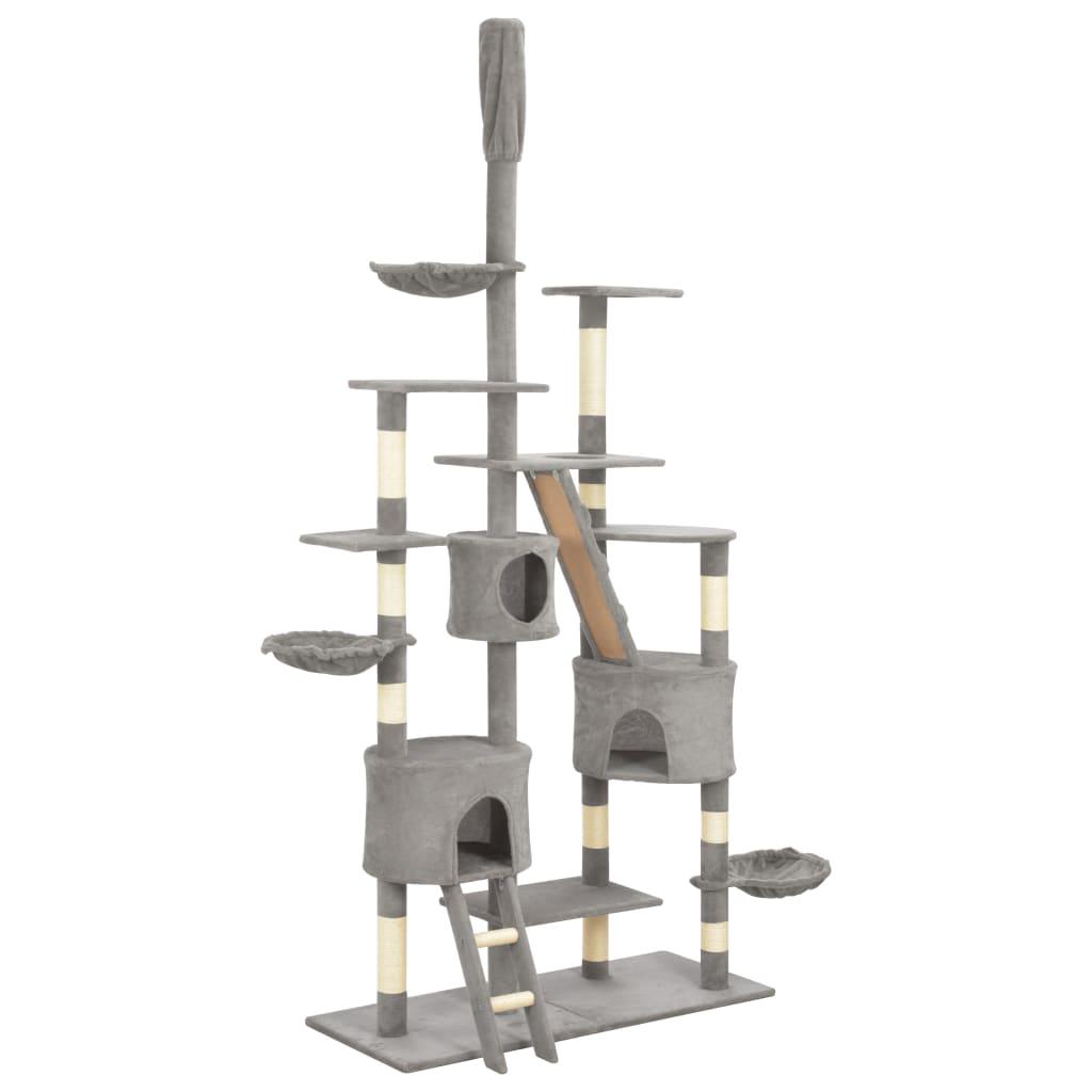 vidaXL Ansamblu pentru pisici cu stâlpi funie sisal, gri, 255 cm poza 2021 vidaXL