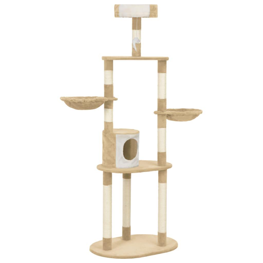vidaXL Ansamblu pentru pisici cu stâlpi funie de sisal, bej, 180 cm imagine vidaxl.ro
