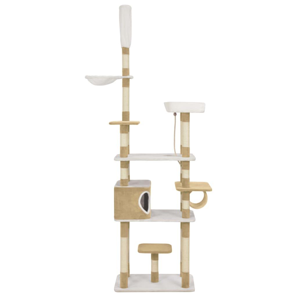 vidaXL Ansamblu pentru pisici, stâlpi cu funie de sisal, bej, 235 cm poza 2021 vidaXL