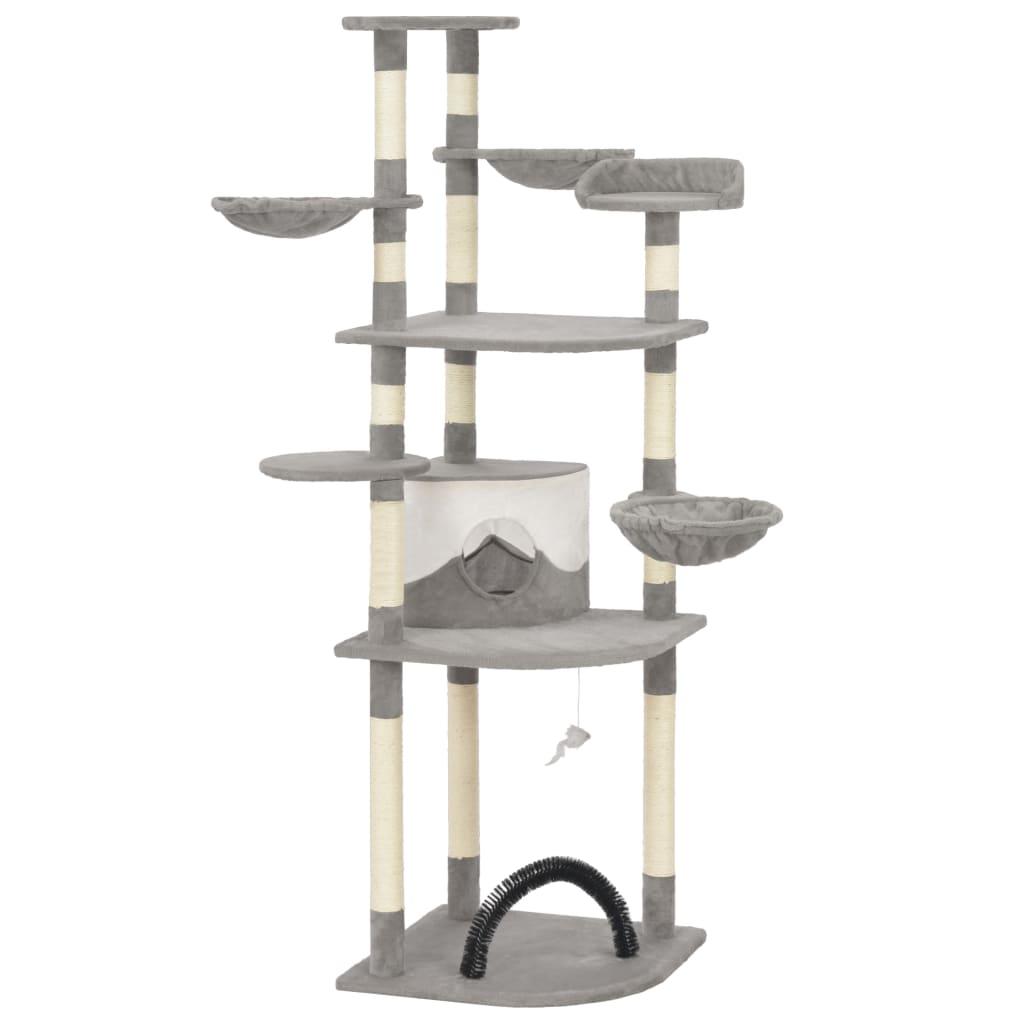 vidaXL Ansamblu pisici cu stâlpi din funie de sisal, gri, 190 cm poza 2021 vidaXL