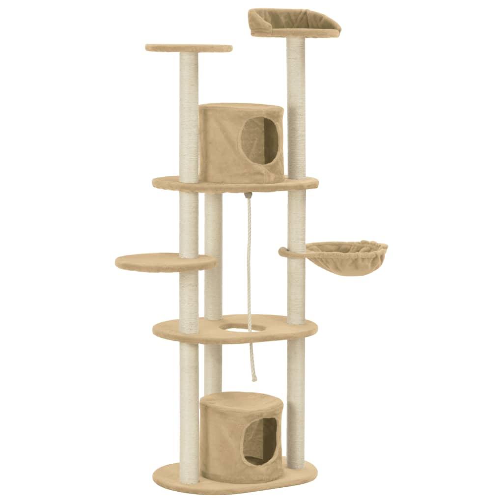 vidaXL Škrabadlo pro kočky se sisalovými sloupky béžové 160 cm