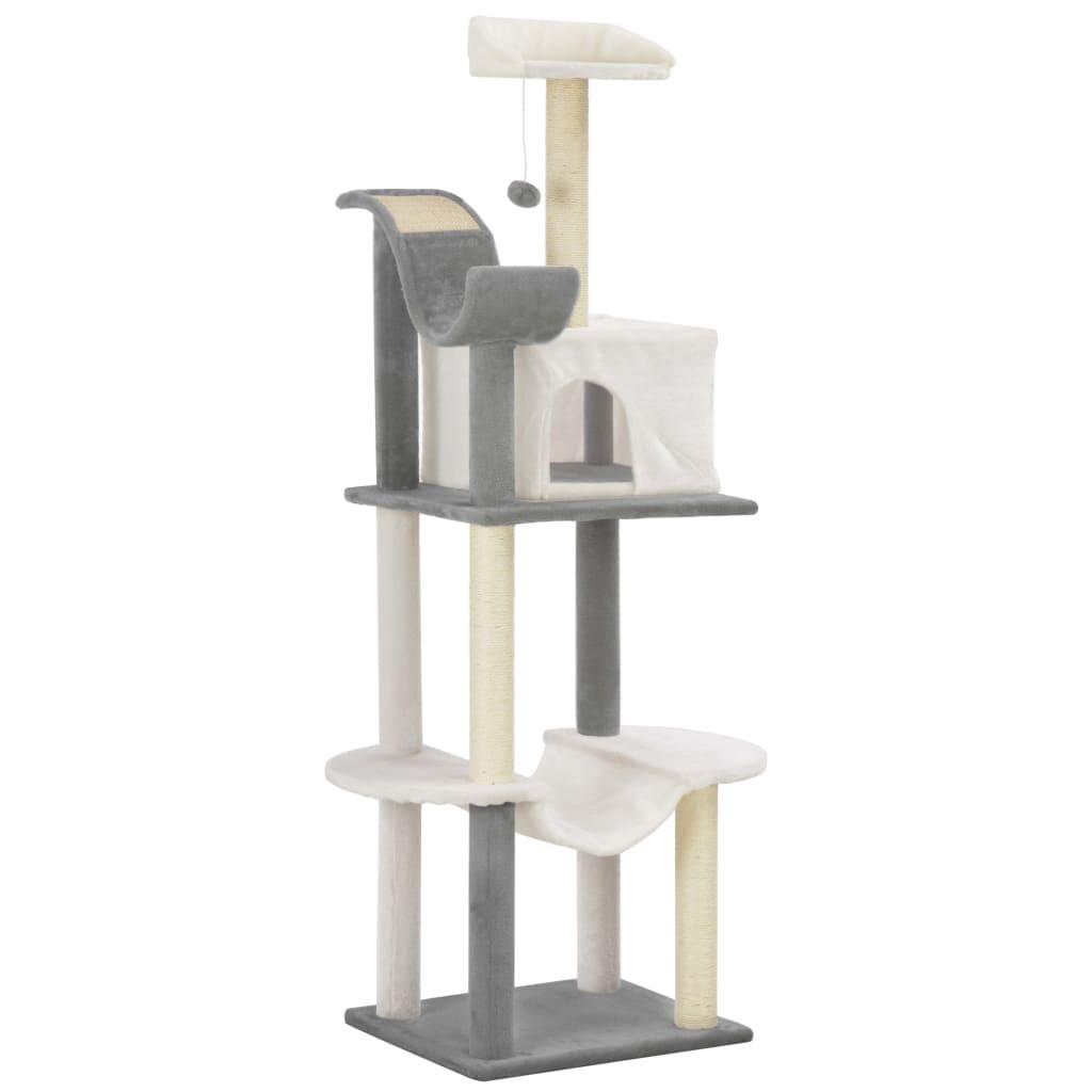vidaXL Škrabadlo pro kočky se sisalovými sloupky šedo-bílé 155 cm