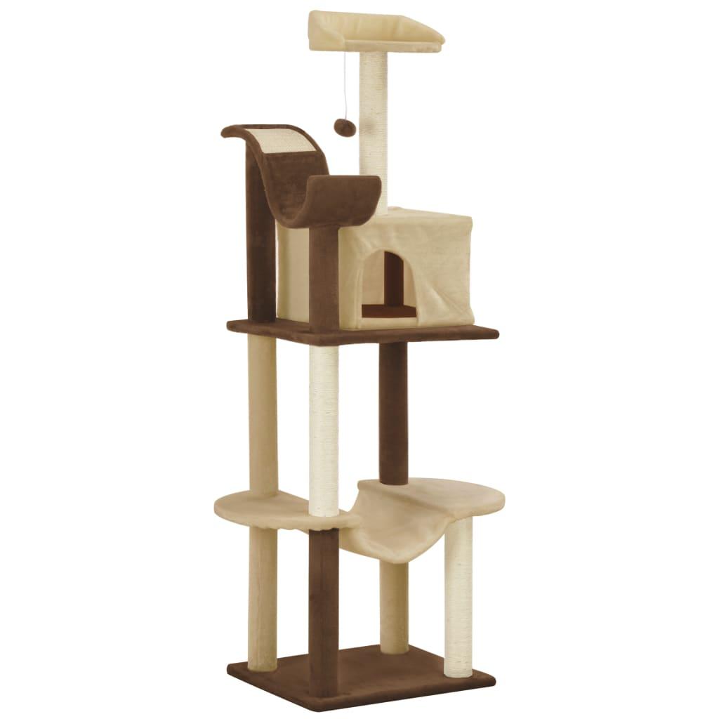 vidaXL Ansamblu pisici cu stâlpi din funie de sisal, maro & bej 155 cm poza 2021 vidaXL