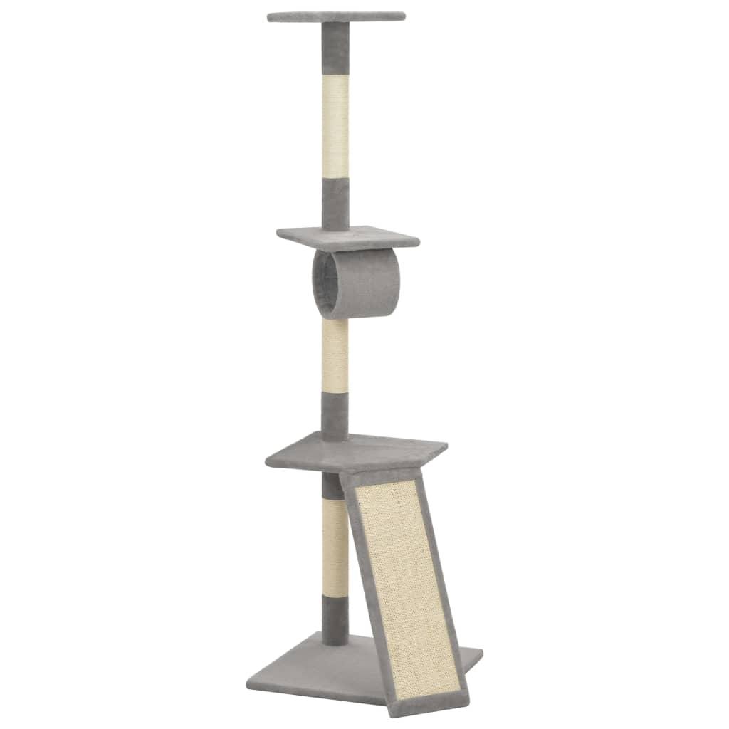vidaXL Ansamblu pentru pisici cu stâlpi funie sisal, gri, 160 cm poza 2021 vidaXL