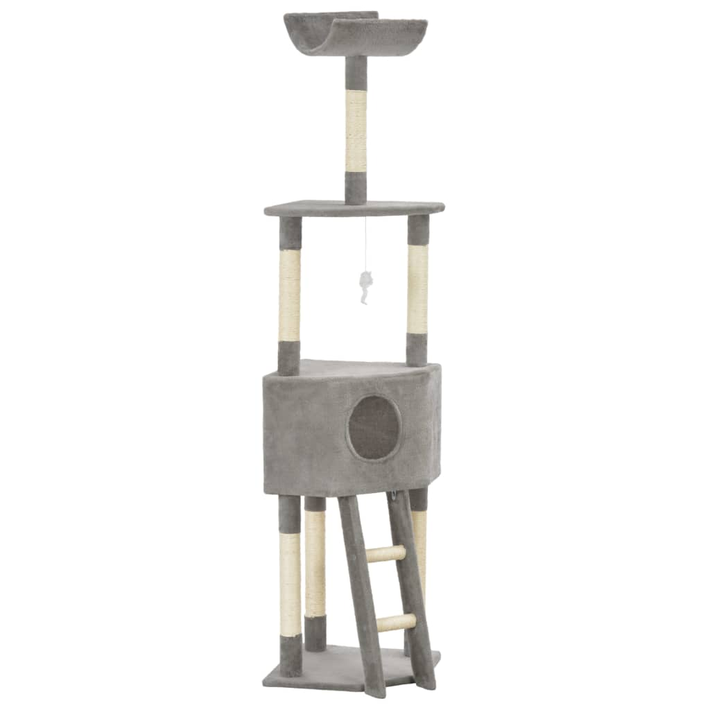 vidaXL Ansamblu pentru pisici, stâlp cu funie de sisal, gri, 180 cm poza vidaxl.ro