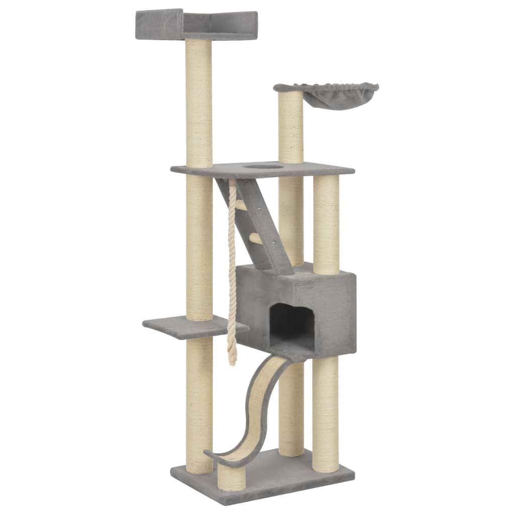 vidaXL Ansamblu pisici cu stâlpi din funie de sisal, gri, 180 cm, XXL poza 2021 vidaXL