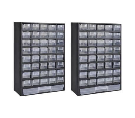 vidaXL 41-Drawer Storage Cabinet Tool Box 2 pcs Plastic