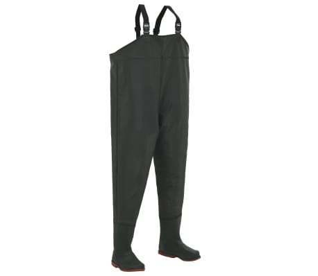 vidaXL Wading Pants with Boots Green Size 39