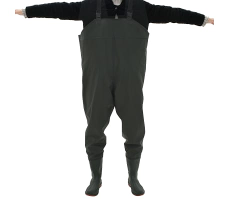 vidaXL Pantaloni Impermeabili con Stivali Verdi Taglia 42[4/6]