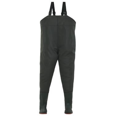 vidaXL Pantaloni Impermeabili con Stivali Verdi Taglia 42[2/6]