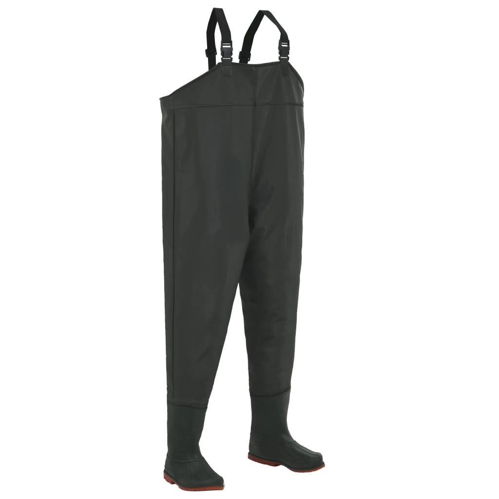 vidaXL Brodící kalhoty s holínkami zelené velikost 43