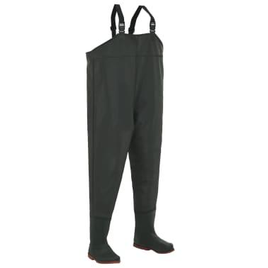 vidaXL Pantaloni Impermeabili con Stivali Verdi Taglia 46[1/6]