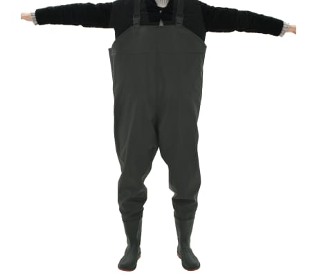vidaXL Pantaloni Impermeabili con Stivali Verdi Taglia 46[4/6]