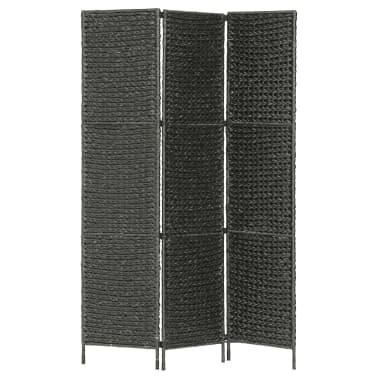 "vidaXL 3-Panel Room Divider Black 45.7""x63"" Water Hyacinth[1/6]"