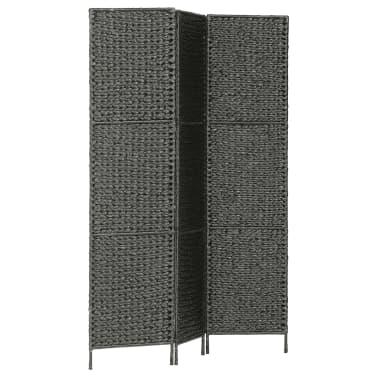 "vidaXL 3-Panel Room Divider Black 45.7""x63"" Water Hyacinth[2/6]"