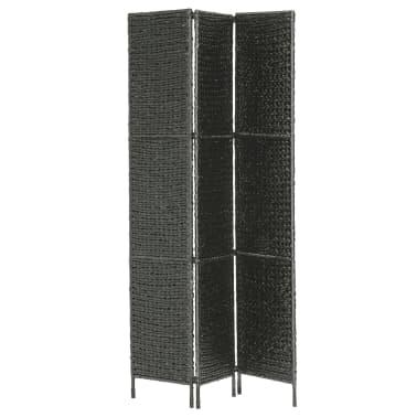 "vidaXL 3-Panel Room Divider Black 45.7""x63"" Water Hyacinth[3/6]"