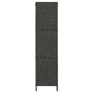 "vidaXL 3-Panel Room Divider Black 45.7""x63"" Water Hyacinth[4/6]"