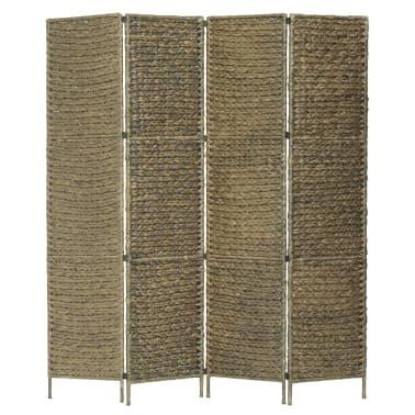 vidaXL 4-Panel Room Divider Brown 154x160 cm Water Hyacinth[1/6]