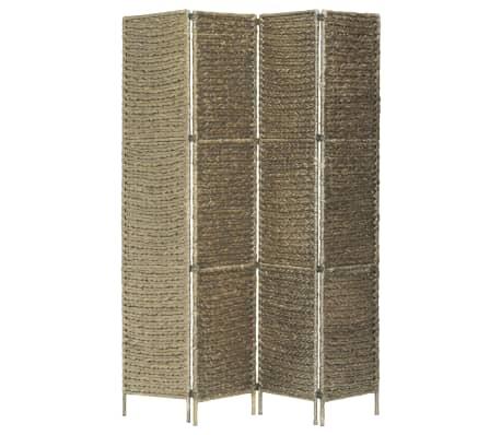 vidaXL 4-Panel Room Divider Brown 154x160 cm Water Hyacinth[3/6]