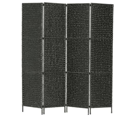 vidaXL Romdeler med 4 paneler 154x160 cm vannhyacinth svart