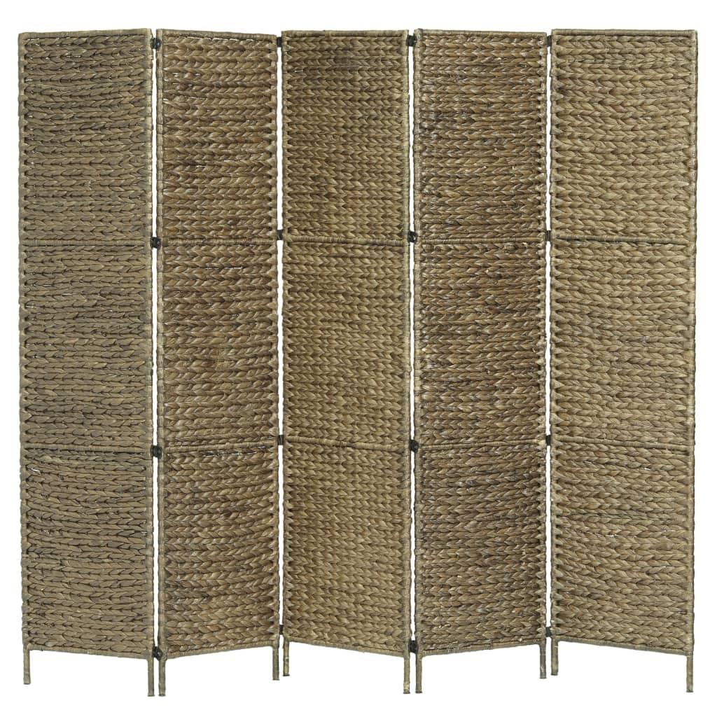 vidaXL 5-panelowy parawan pokojowy, brązowy, 193x160 cm, hiacynt wodny