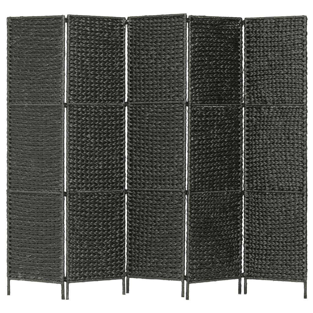 vidaXL Paravan cameră cu 5 panouri, negru, 193x160 cm, zambilă de apă