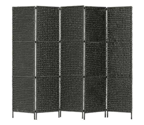 vidaXL 5-Paneelinen tilanjakaja 193x160 cm vesihyasintti musta
