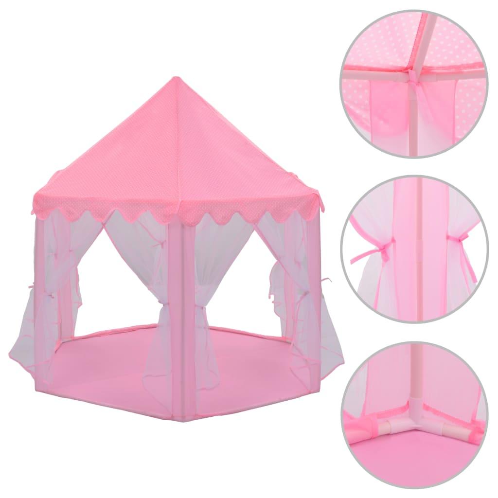 vidaXL Princeznovský stan na hraní růžový