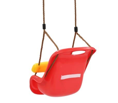 vidaXL Barngunga med säkerhetsbälte PP röd[4/8]