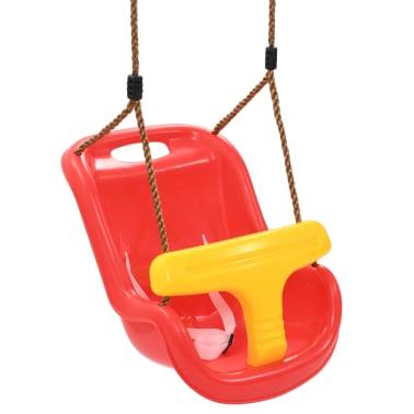 vidaXL Balançoire pour bébé avec ceinture de sécurité PP Rouge[2/8]