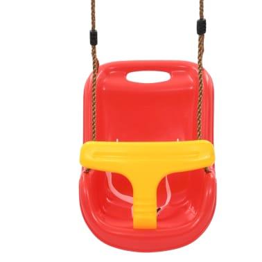 vidaXL Barngunga med säkerhetsbälte PP röd[3/8]