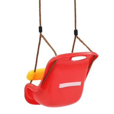 vidaXL Balançoire pour bébé avec ceinture de sécurité PP Rouge[4/8]