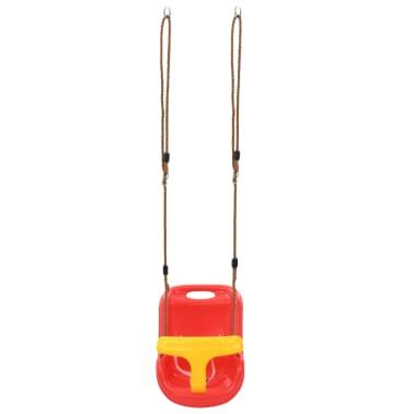 vidaXL Barngunga med säkerhetsbälte PP röd[6/8]