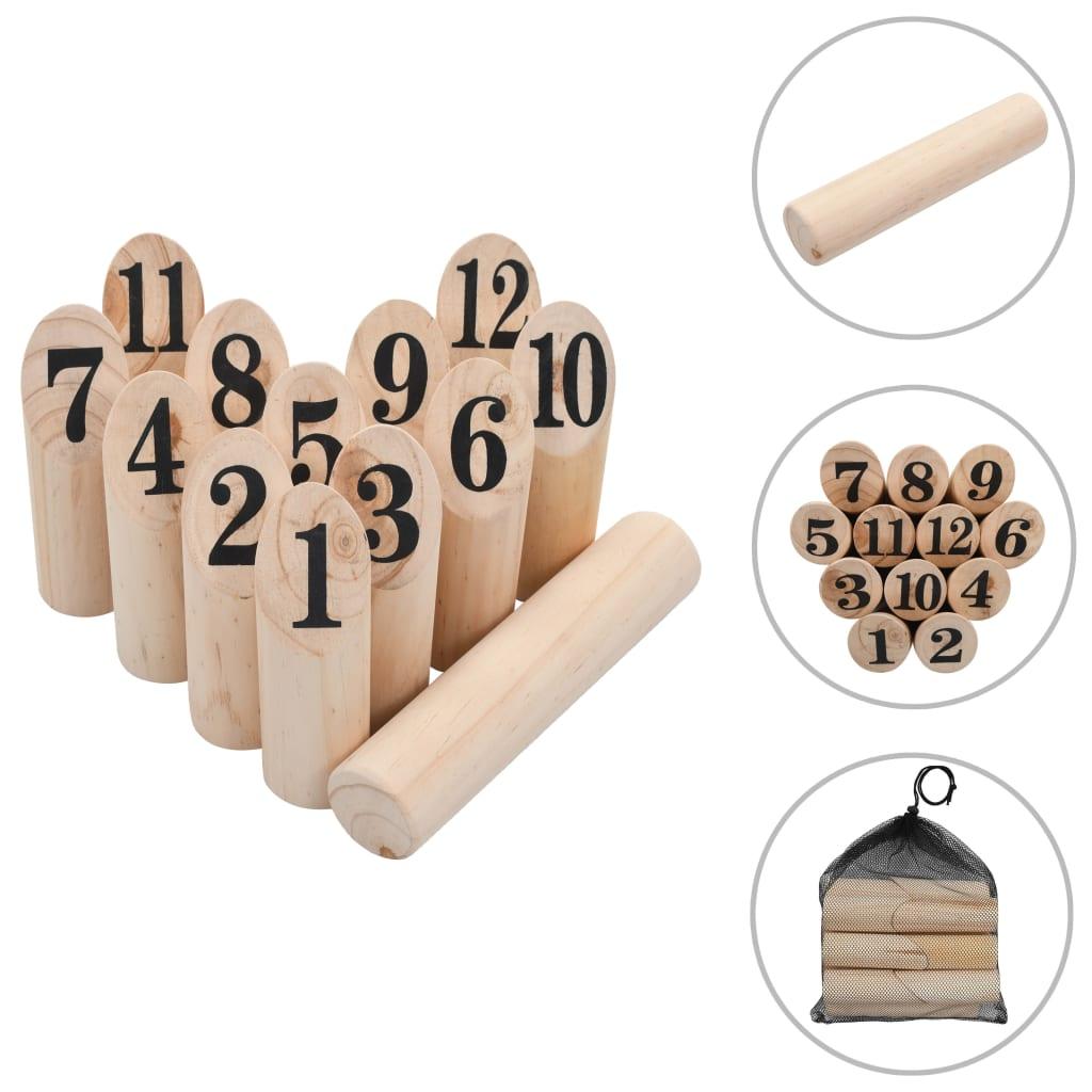 vidaXL Kubb s čísly herní set dřevěný