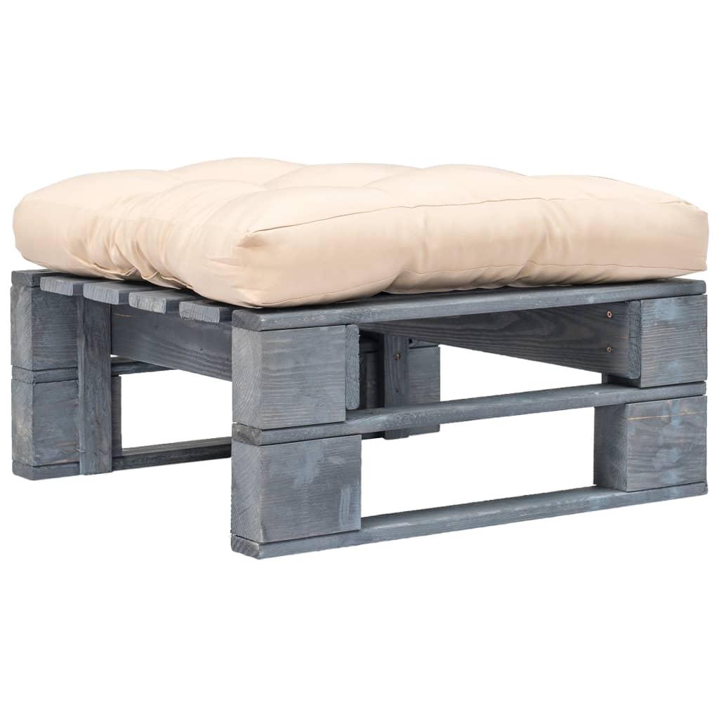 Zahradní taburet z palet s pískovou poduškou šedé FSC dřevo