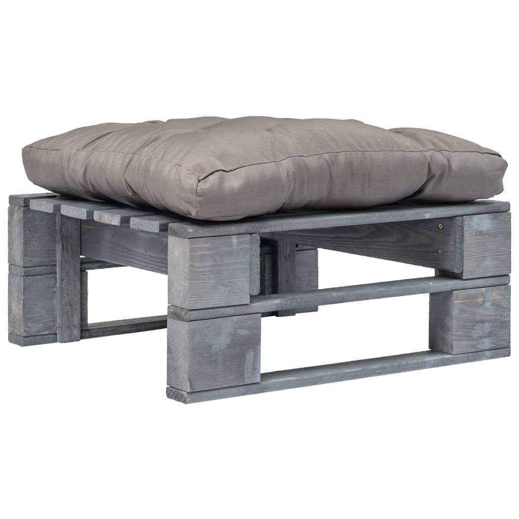 Zahradní taburet z palet s šedou poduškou šedé FSC dřevo