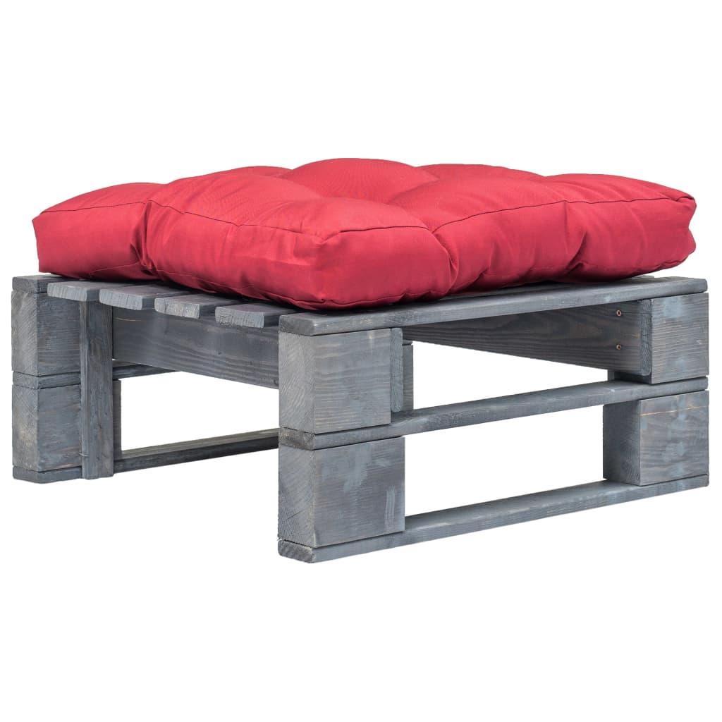 Zahradní taburet z palet s červenou poduškou šedé FSC dřevo